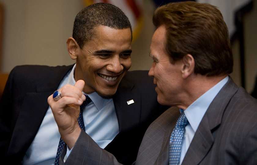 President Barack Obama with Governor Arnold Schwarzenegger