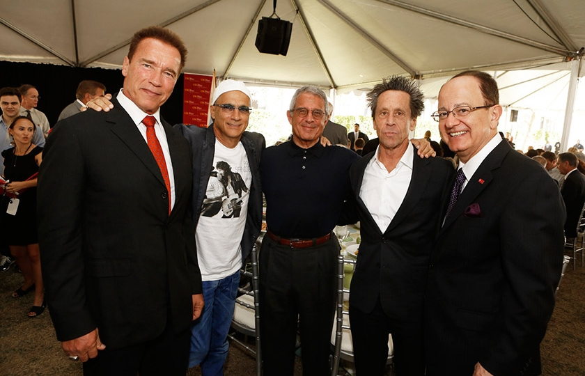 Governor Schwarzenegger, Jimmy Iovine, Ron Meyer, Brian Grazer and USC President C.L. Max Nikias at the inaugural symposium