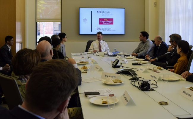 Assistant Secretary of Defense for Indo-Pacific Security Affairs Randall Schriver talks to USC faculty and PhD students.