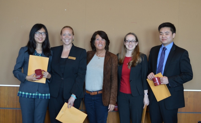 The winning Team with Bonnie Reiss -Megan Baaske, Samuel Kwon, Heidi Wiersma, and Mengwen Stephanie Zhang