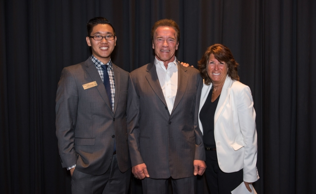 Shawn Rhoads, Executive Director of the USC Environmental Student Assembly, Governor Arnold Schwarzenegger, Bonnie Reiss, Global Director of the Schwarzenegger Institute