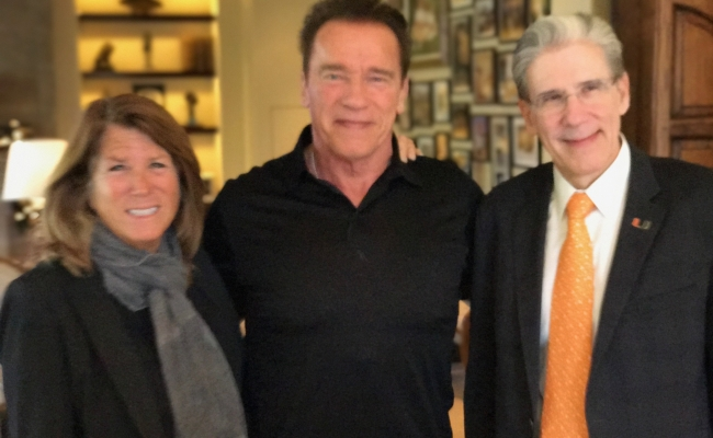Schwarzenegger Institute Global Director Bonnie Reiss, Governor Arnold Schwarzenegger, Dr. Julio Frenk, the new president of the University of Miami