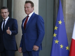Governor Schwarzenegger Meets with President Macron at the Elysee Palace