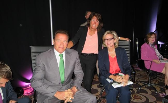 Governor Schwarzenegger, Schwarzenegger Institute Global DirectorBonnie Reiss and Governor Granholm at the Clean Energy Summit